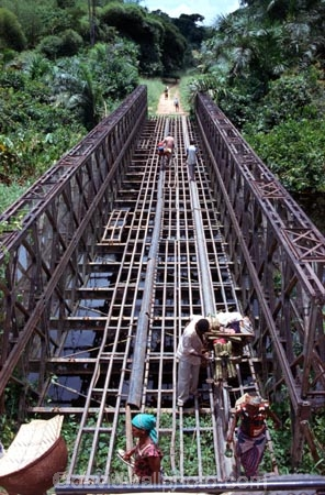 bridge;bridges;frame;steel;metal;unsafe;dangerous;danger;dangers;transport;transportation;incomplete;crossing;pedestrian;pedestrians;cross;road;roads;route;africa;pan-africa-highway;trans-africa;zaire;congo-;democratic-republic-of-congo;Bailey-bridge;central-africa;river