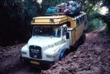 truck;trucks;vehicle;travel;travelling;transport;transportation;diesel;diesel-truck;carry;passenger;passengers;track;road;ditch;dip;overland;pothole;pot_hole;congo;zaire;democratic-republic-of-congo