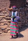 africa;african;africans;black;ethnic;people;person;persons;mother;portrait;portraits;culture;cultural;cultures;tribe;tribes;tribal;indigenous;native;woman;gourd;gourds;pot;pot;lady;female;carry;carrying;dogon;dogons;bandiagara;mali;malian