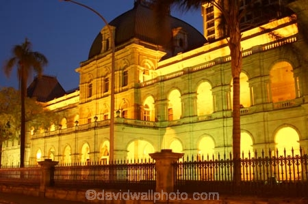 architecture;australasia;Australia;australian;Brisbane;building;buildings;dark;dusk;floodlighting;floodlit;grand;heritage;Historic;Historic-Parliament-House,-Bris;historical;illuminate;illuminated;night;night-time;old;palm;palms;Parliament-House;Queensland;twilight