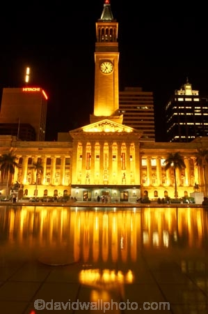 architecture;art-galleries;art-gallery;australasia;Australia;australian;Brisbane;building;buildings;c.b.d.;cbd;central-business-district;City-Hall;clock;clock-tower;clocks;colonial;column;columns;facade;facades;floodlighting;floodlit;historic;historical;illuminate;illuminated;Italian-renaissance;King-George-Square;museum;museums;night;night-time;pond;ponds;pool;pools;Queensland;reflect;reflection;reflections;reflects;tower;towers;town-hall;town-halls