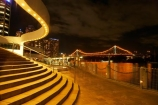 Australasia;Australia;Australian;Brisbane;Brisbane-River;Brisbane-Waterfront;dark;evening;light;lights;night;night-time;night_time;Petrie-Bight;Qld;Queensland;river;rivers;riverside;Riverside-Promenade;stair;stairs;step;steps;Story-Bridge;waterfront