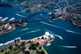 Sydney;Opera;House;Sydney;Harbour;harbor;harbors;harbours;aerials;Bridge;bridges;Australia;aerial;architecture;boat;boats;ferry;ferries;wake;royal-botanic-gardens;royal;botanic;gardens;park