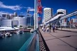 mono;rail;flag;flags;pedestrian;tourist;tourists;tourism;train;trains;commuter;commute;modern;bridges;harbor;harbours;harbors;future;futuristic;Monorail;Pyrmont;Bridge;Darling;Harbour;Sydney;Australia