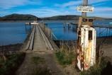 abandoned;bowser;Catlins;Derelict-Petrol-Pump;jetty;New-Zealand;nz;petrol-bowser;Pier;piers;sign;signage;South-Island;Southland;Waikawa;Waikawa-Harbour;warning;wharf;wooden