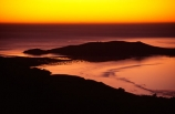new-zealand;coast;harbor;otago-peninsula;The-Heads;twilight;dusk;dawn;sunrise;colour;color;orange;yellow;island;islands;tranquil