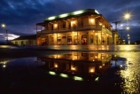 wine;wine-region;hotels;accommodation;pub;pubs;historic;historical;colonial;reflection;reflections;night;puddle;verandah;lights;light;hotel;martinborough;martinborough-hotel;welcoming;rain;raining;rainy