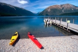 lakes;lake;water;kayak;kayaks;kayaking;bush;person;people;tranquil;tranquility;peaceful;peace;peacefulness;beach;beaches;colour;colours;color;colors;yellow;red;blue;green;aqua;clear;see_through;pure;boat;boats;jetty;jetties;wharf;wharves;pier;piers;Lake-Rotoiti;Nelson-Lakes-National-Park;nelson-lakes;national-parks