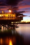 The-Boat-Shed-Restaurant;Boat-Shed;restaurant;restaurants;Nelson;cafe;cafes;food;eat;dine;dining;lunch;dinner;seafood;sea;ocean;tasman-bay;coast;coastline;shore;shoreline;bay;waterfront;coastal;night-night-time;dusk;twilight;evening;sky;skies