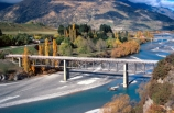 Queenstown;Central-Otago;Lower-Shotover-River;shotover;river;water;bridge;bridges;crossing;tree;trees;bush;bushes;mountain;mountains;hilly;green;autumn