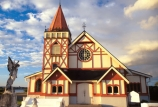 building;architecture;history;historical;Arawa;Arawa-people;Arawa-Tribe;clear;glass;window;ornate;tower;steeple;gothic;gothic-detailing;maori-church;half-timbering;decorative;victorian-iron-work;iron-work;square-tower