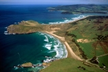 New-Zealand;coast;coastal;coastline;shore;shoreline;beach;beaches;sand;sandy;waves;wave;sea;ocean;Pacific;bay;colour;color;farmland;rural;marine;rugged;Southern-Scenic-Route;aerials