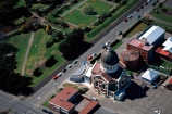 Francis-William-Petre;neo_classical;architect;architecture;architectural;Byzantine;late-Greek-style;category-one;category-1;Historic-Places-Trust;parish;church;dome;spire;domed;religious;religion;christian;christianity;brick;red_brick;aerial;from-the-air;history
