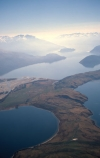mountain;mountains;rock;rocks;rocky;lake;lakes;aerial;aerials;bay;bays;haze;hazy;low-cloud