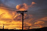 cloud;clouds;Dunedin;dusk;evening;line;lines;N.Z.;New-Zealand;nightfall;NZ;orange;Otago;pole;poles;post;posts;power-line;power-lines;power-pole;power-poles;S.I.;SI;skies;sky;South-Is.;South-Island;sunset;sunsets;telegraph-line;telegraph-lines;telegraph-pole;telegraph-poles;twilight;wire;wires