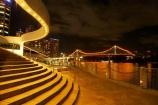 Australasia;Australia;Australian;Brisbane;Brisbane-River;Brisbane-Waterfront;dark;evening;light;lights;night;night-time;night_time;Petrie-Bight;Qld;Queensland;river;rivers;riverside;Riverside-Promenade;stair;stairs;step;steps;Story-Bridge;waterfront