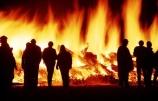 biker;bikers;blaze;blazes;blazing;bonfires;fire;fires;flame;flames;group;hot;logs;motorbiker;motorbikers;motorcyclist;motorcyclists;night;orange;parties;party;people;person;silhouette;silhouettes
