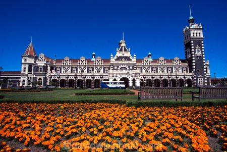 architecture;architect;Gingerbread-George;George-A-Troup;New-Zealand-Railways;Flemish-Renaissance-style;basalt;limestone;red-marseille-tiles;tower;towers;clock;Dunedins-moto-secundo-curo;Dunedins-motto;secundo-curo;motto;i-prosper-and-am-cautious;floor-panels;mosaic-tiles;historic;historical;history