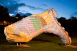 dusk;evening;gumboot;Gumboot-Statue;gumboots;icon;iconic;icons;N.I.;N.Z.;New-Zealand;NI;night;night-time;North-Island;NZ;public-artwork;public-artworks;Rangitikei;rural;rural-town;rural-towns;rural-township;Taihape;wellington-boots;wellingtons