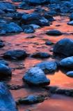 sundown;dusk;twilight;colour;colours;color;colors;pink;orange;rocks;rock;boulder;boulders;stream;river;creek;flow;flowing