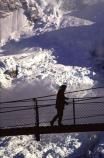 ice;snow;silhouette;swing-bridge;wire-bridge;wilderness;mountain;mountains;peak;glacier;glaciers;southern-alps;main-divide;walk;walks;walker;walking;tramp;tramps;tramper;tramping;bridges;adventure;person;people