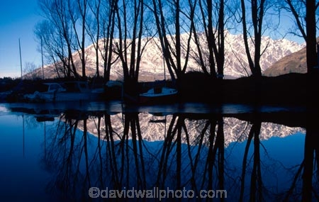 Snow;The-Remarkables;remrkables;mountain;mountains;winter;cold;Silhouette;silhouettes;tree;Trees;willow;willows;deciduous;Frankton-Marina;frankton;Lake-Wakatipu;wakatipu;lakes;lake;Queenstown;south-island;new-zealand;reflection;reflections