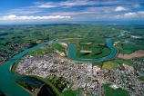 river;town;township;village;rural;service-town;farming-town;community;winding;New-Zealand;Southern-Scenic-Route;State-Highway-One;SH1;aerials