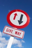 driving;Fox-Glacier;give-way;give-way-sign;give-way-signs;New-Zealand;One-Lane-Bridge-Sign;road-sign;road-signs;road-trip;round;sign;signs;sky;South-Island;transport;transportation;warning;warning-sign;warning-signs;West-Coast;westland;yeild