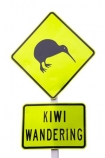 cutout;cut;out;dayglo;Kiwi;Sign;Wandering;Warning;New-Zealand;NZ;road;yellow;icon;wildlife